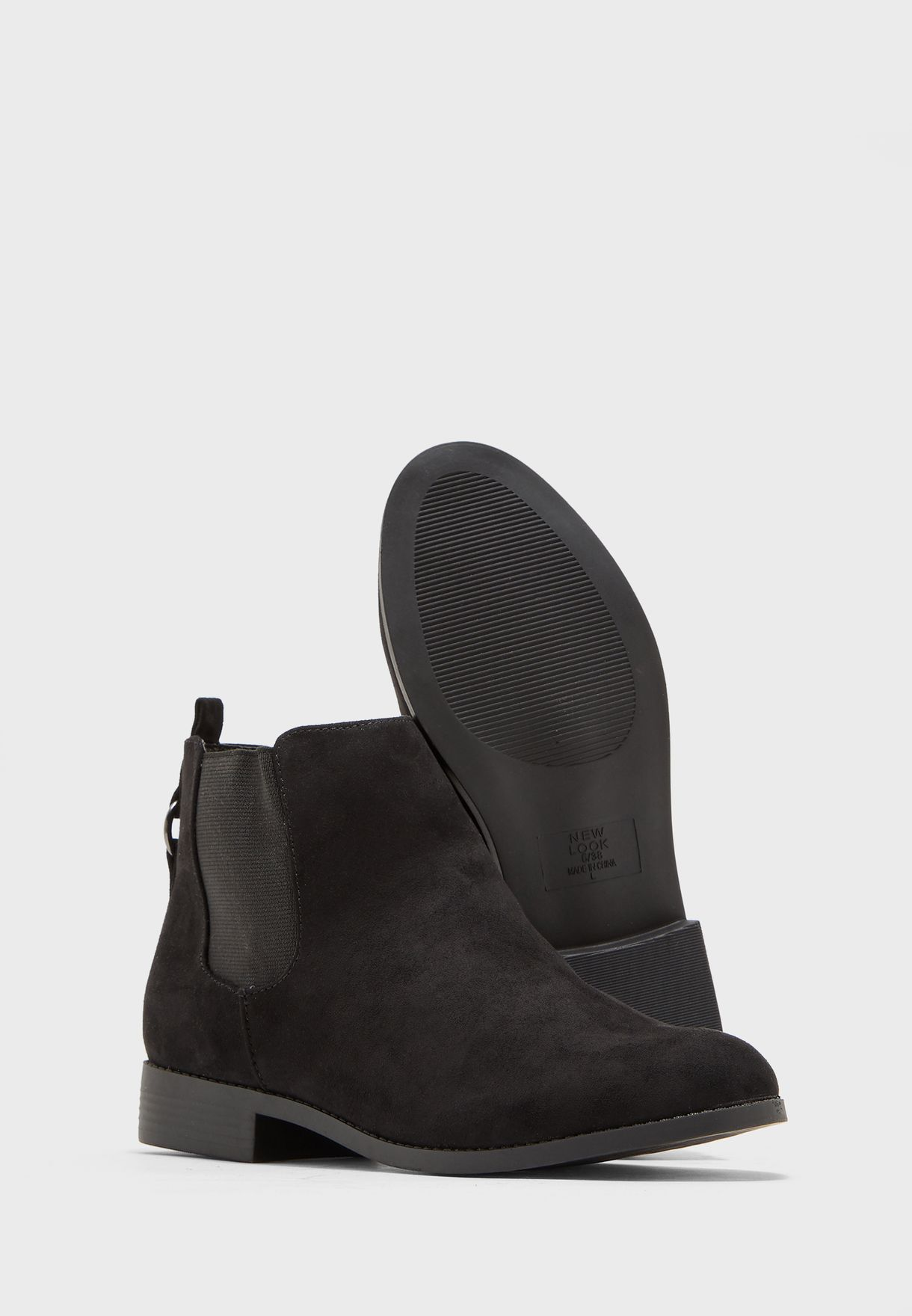 Wide Fit Rubber Detail Ankle Boot