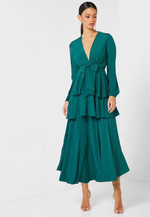 Deep V-Neck Ruffle Maxi Dress