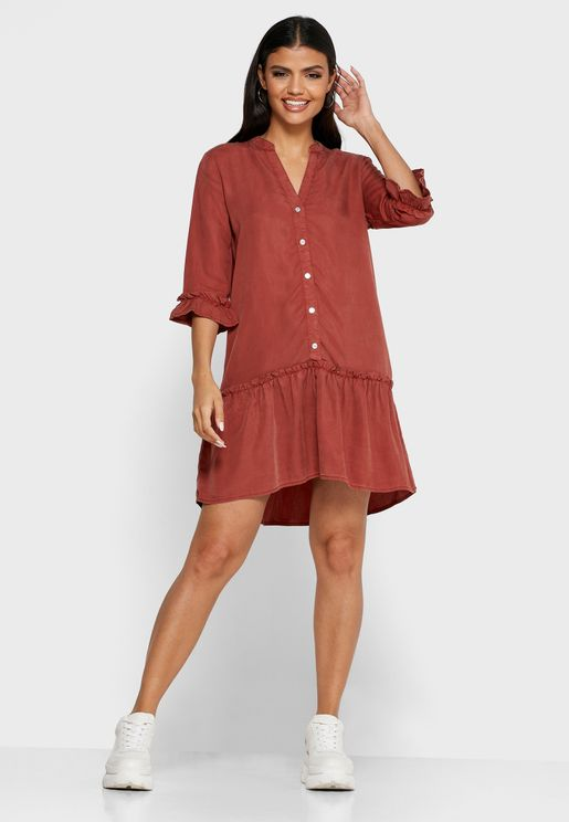 Ruffle Trim Button Through Dress