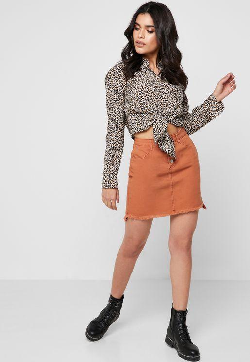Raw Hem Button Detail Denim Skirt