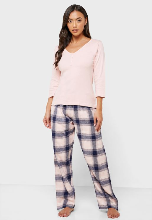 Ribbed Top & Checked Pyjama Set