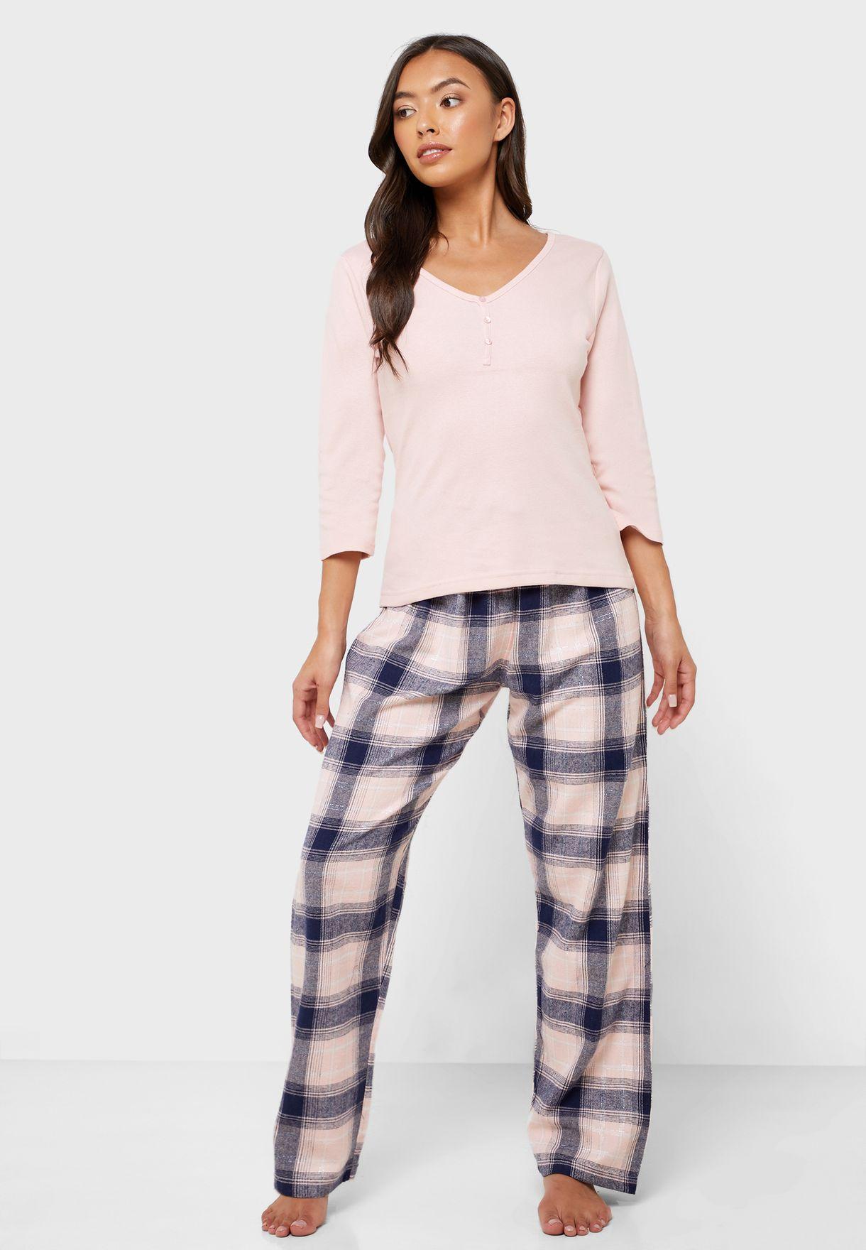 Ribbed Top & Checked Pyjama Set