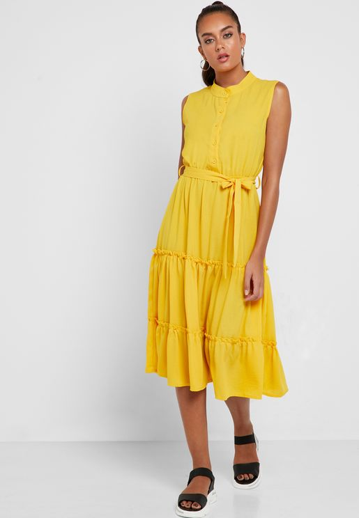 Tiered Self Tie Shirt Midi Dress