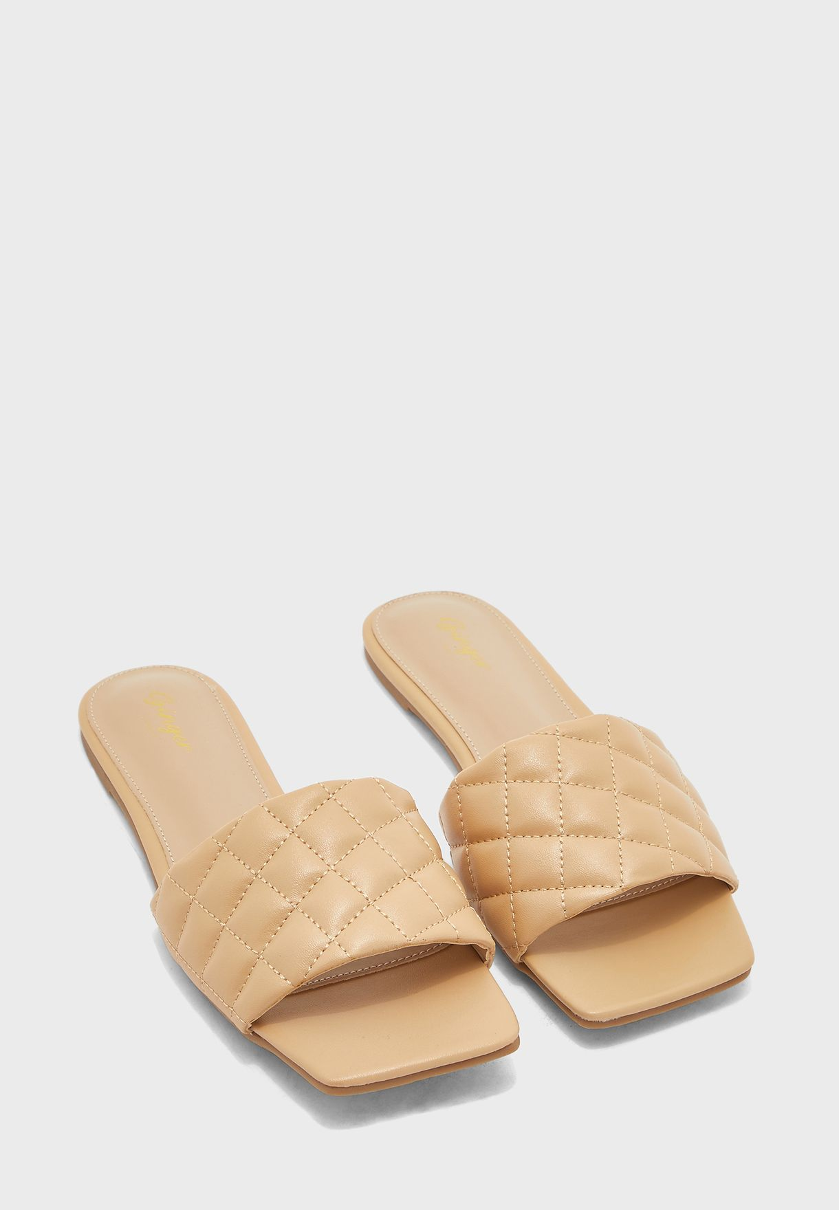 Square Toe Quilted Flat Sandal