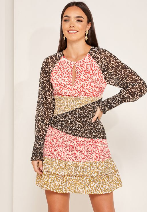 Print Contrast Sheer Detail Dress