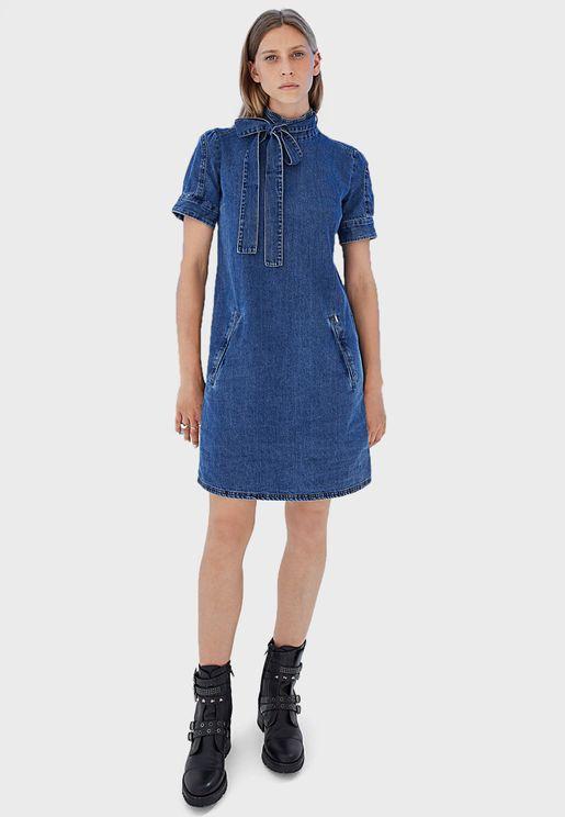 High Neck Denim Dress