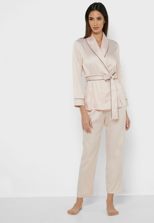 Satin Contrast Trim Pyjama Set