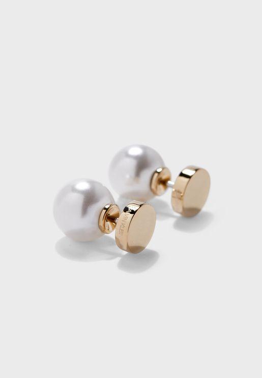 Shiny Champagne Pearl Stud Earrings