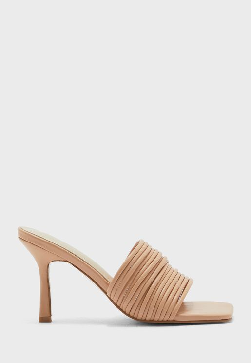 Multi-Stand Square Toe Stiletto Mule