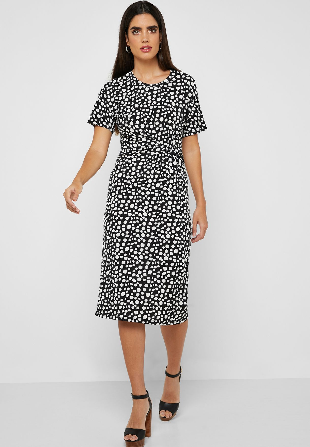 Abstract Print Twisted Front Midi Dress
