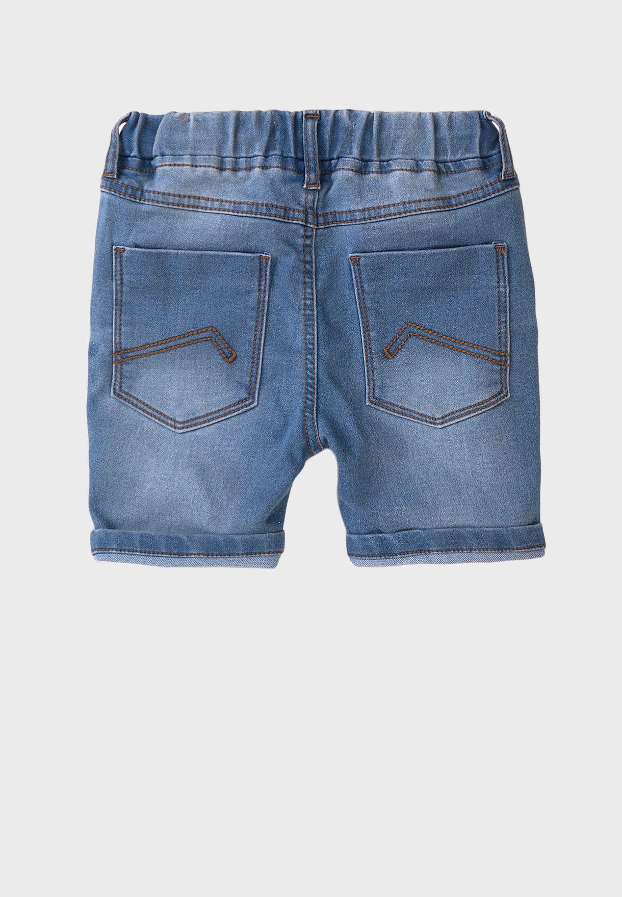 Kids Basic Knitted Denim Shorts