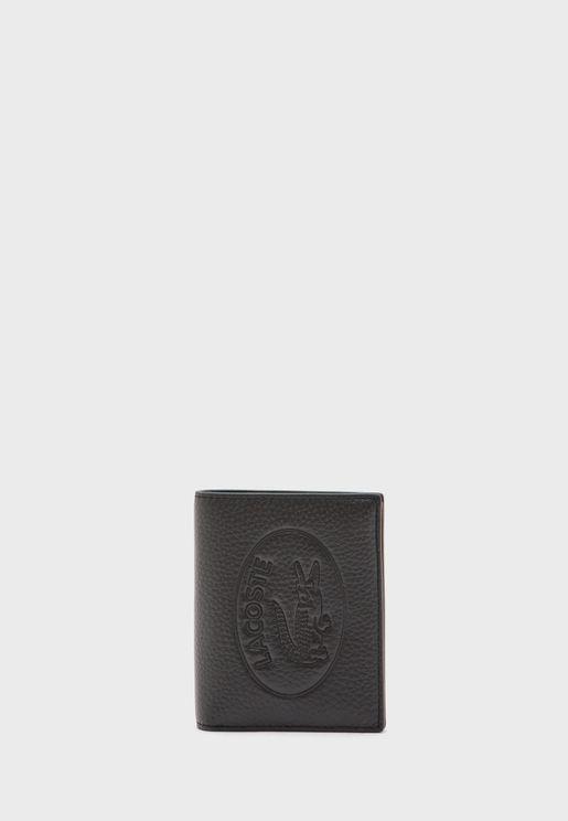 محفظة جلد مطوية بشعار الماركة