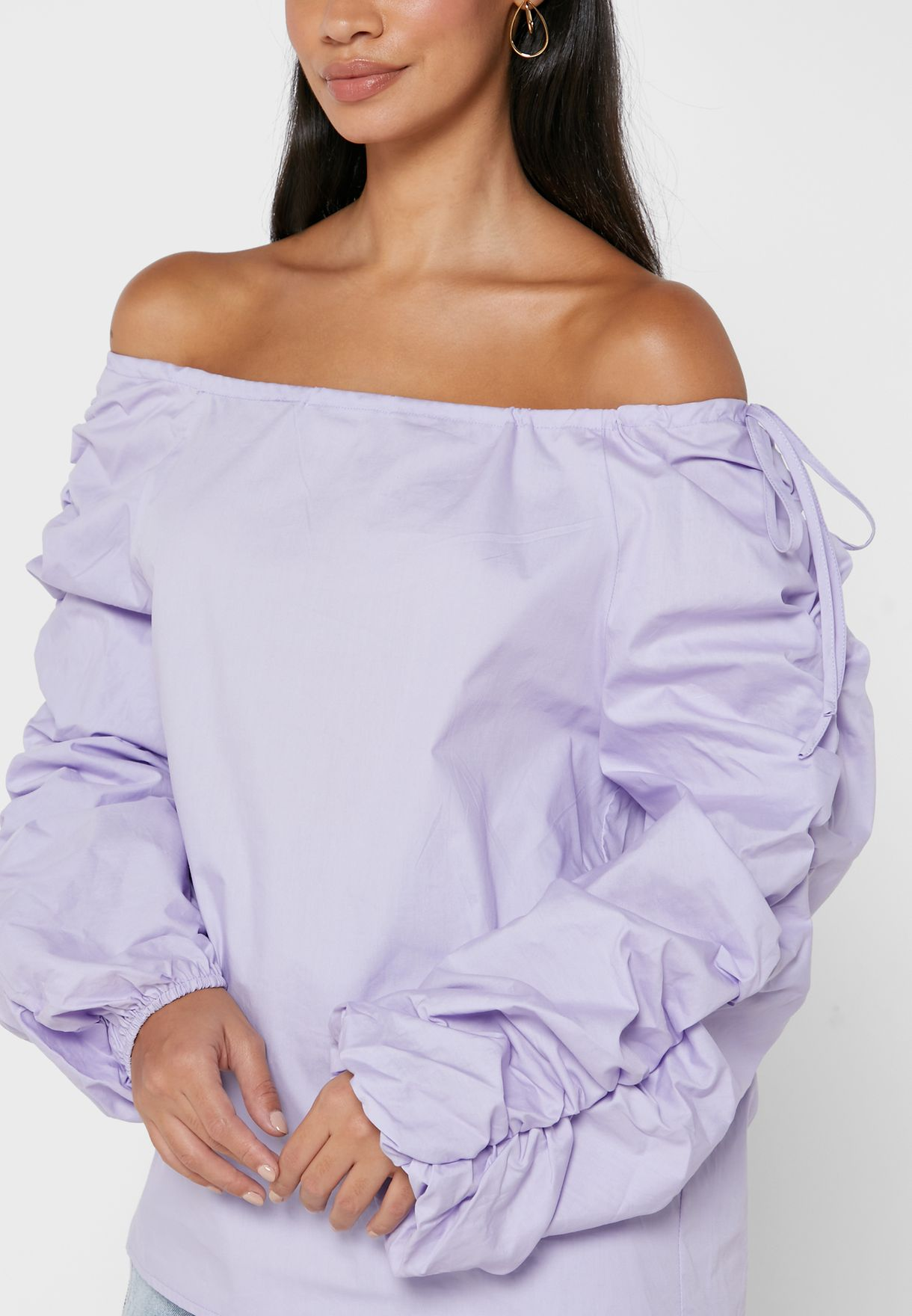 Rouched Sleeve Detail Top