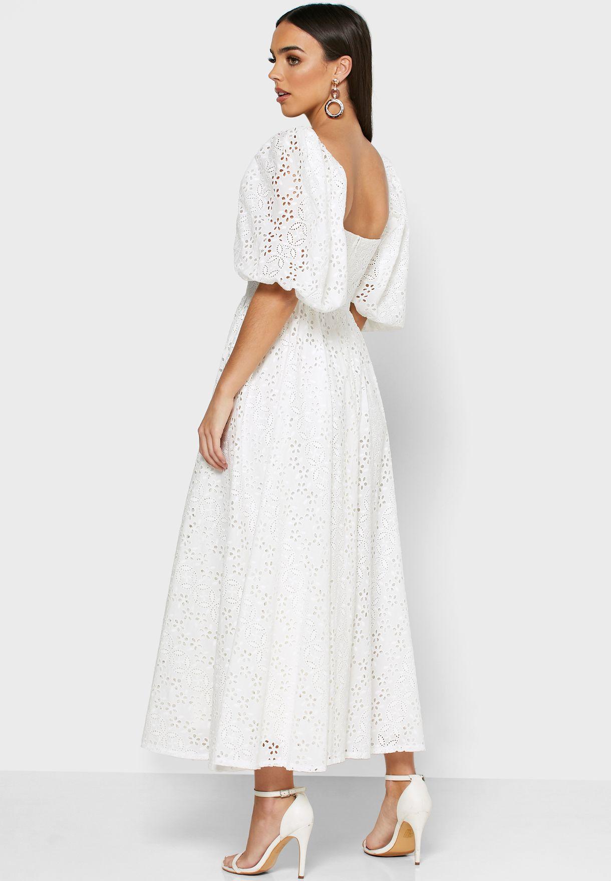 Puff Sleeve Button Through Schiffli Dress