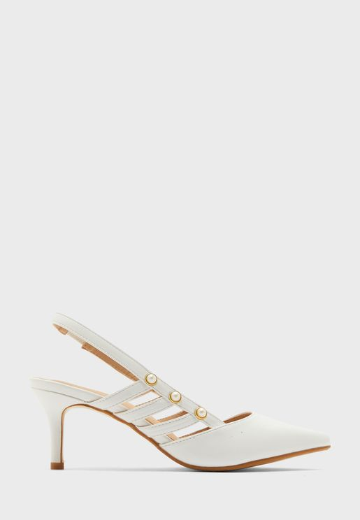 Pointed Slingback Kitten Heel With Pearl Detail