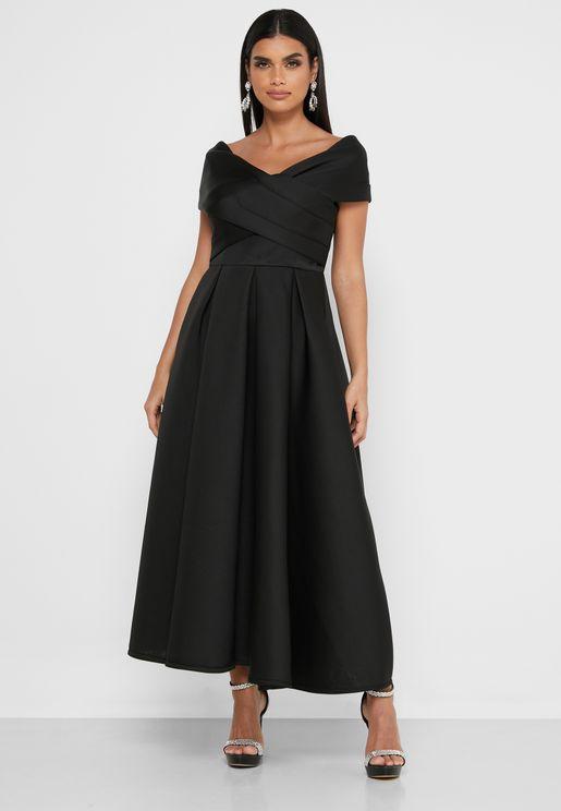 Wrap Front Bardot Maxi Dress