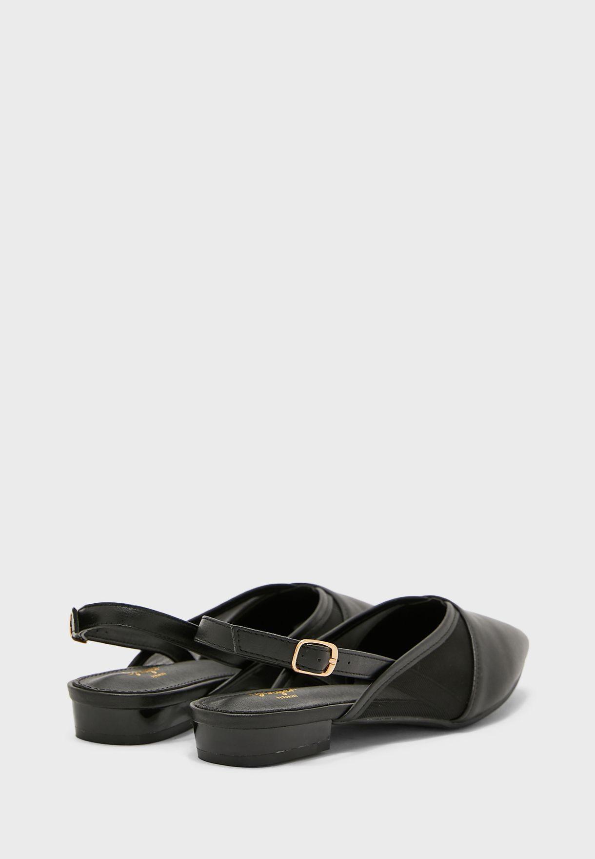 Pointed Mesh Detail Slingback Shoe