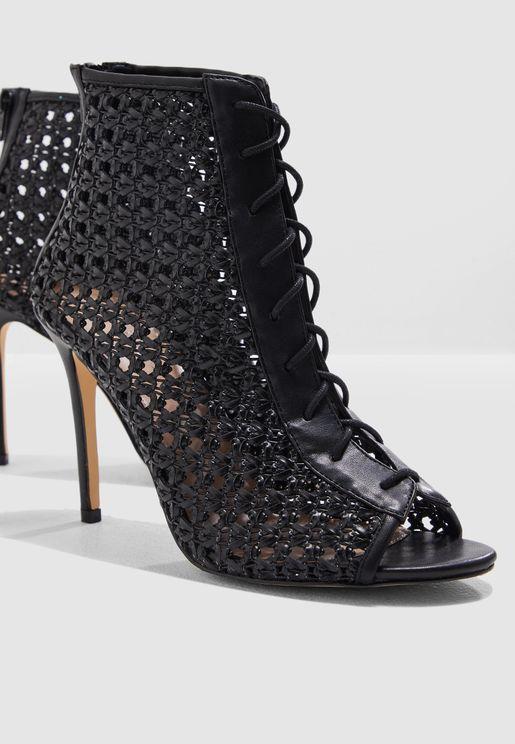 Hilary Woven Stiletto Heel Sandal