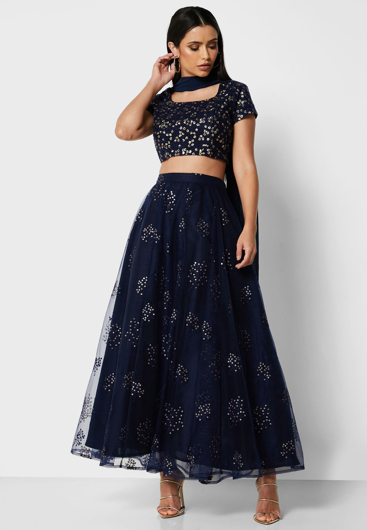 Navy Embroidered Mesh Maxi Skirt with Cancan