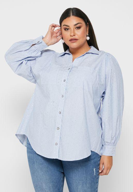قميص باكمام منفوشة