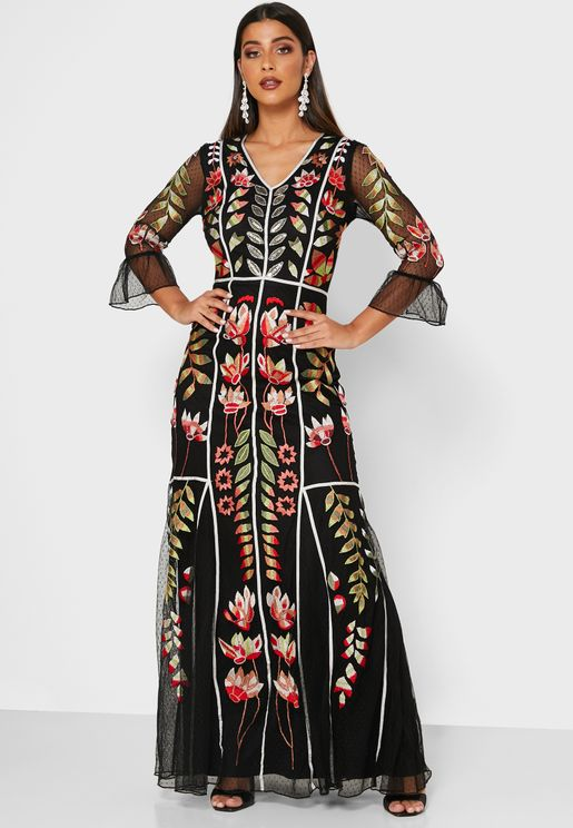 Flute Sleeve Embroidered Dress