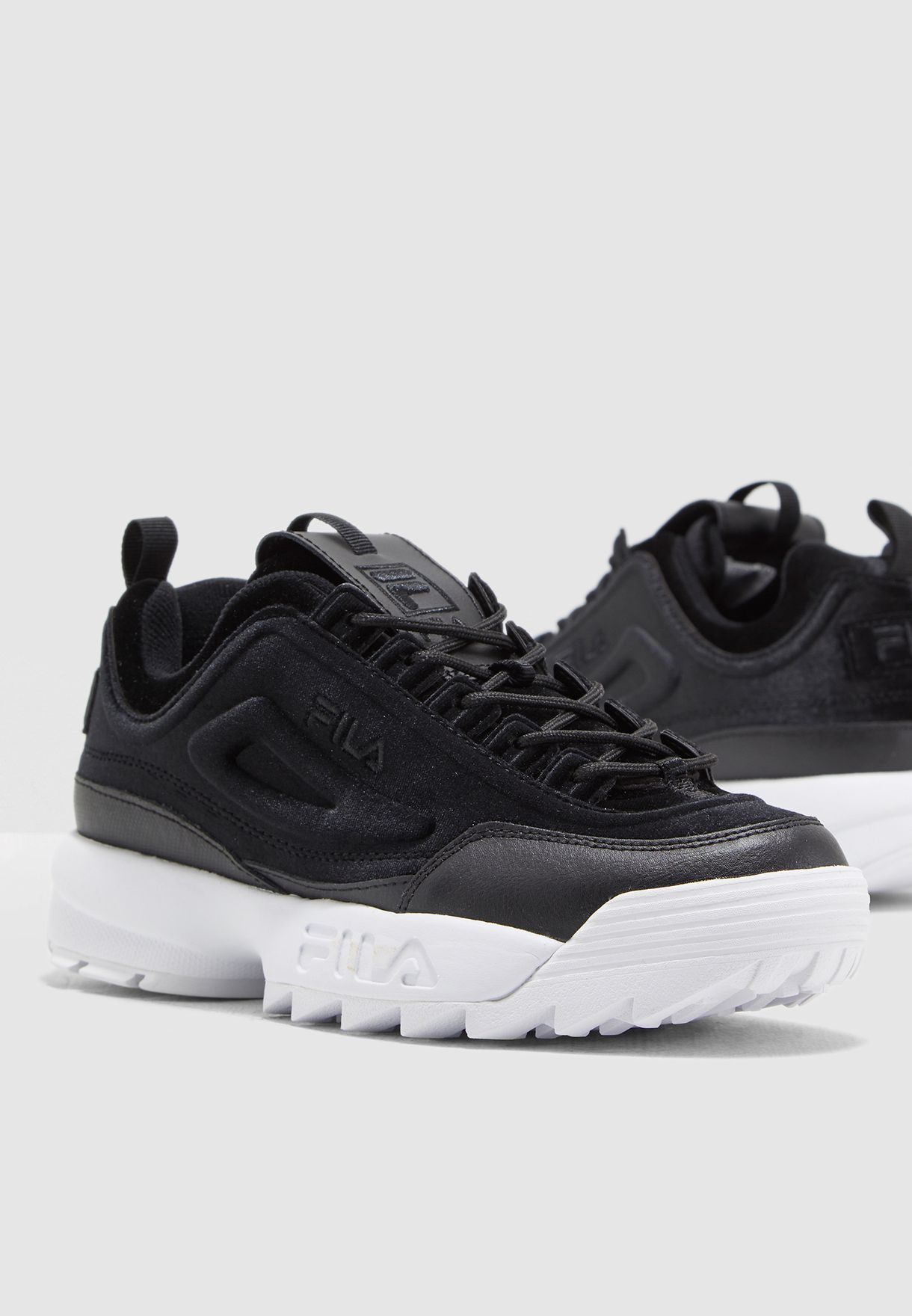 5ddf6be15243 Shop Fila black Disruptor II Premium Velour 5FM00070-013 for Women in Oman  - 41040SH84FRP