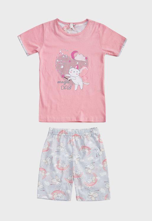 Kids Graphic T-Shirt + Short Pyjama Set