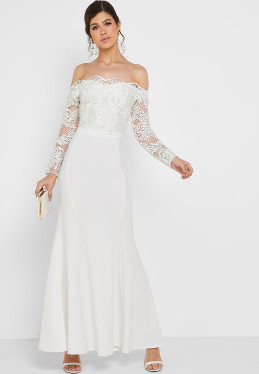 c84277bef3c Embroidered Lace Bardot Maxi Dress
