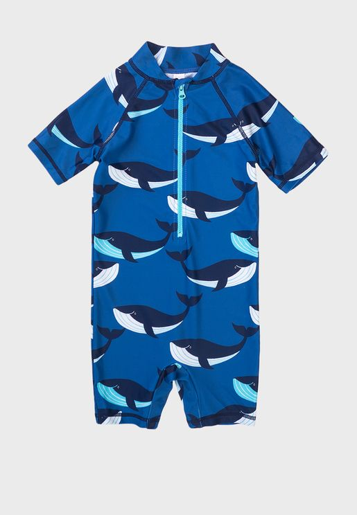 Kids Basic Printed Swimsuit
