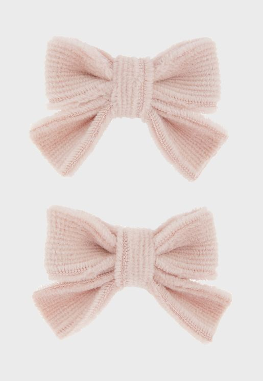 Kids 2 Pack Velvet Bow Hair Clips