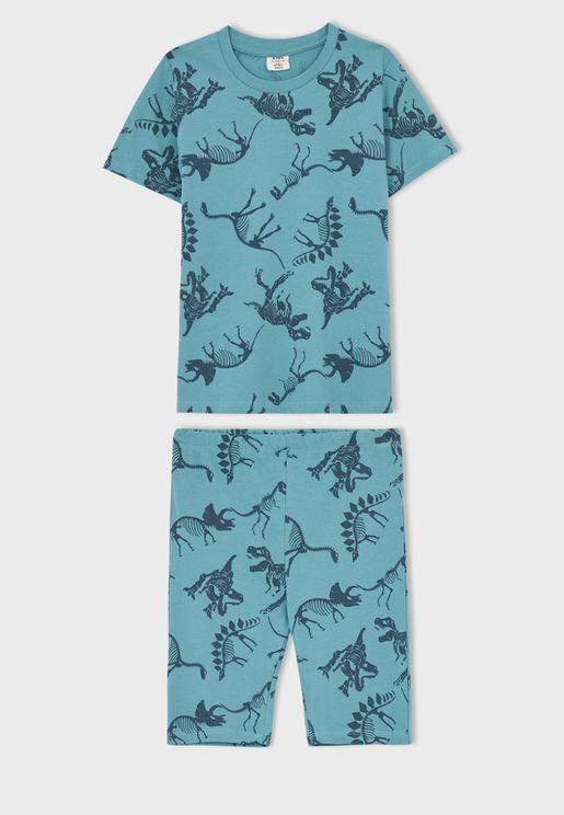 Youth Palm Tree T-Shirt & Pyjama Set