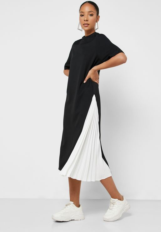 High Low Pleated Colorblock Dress