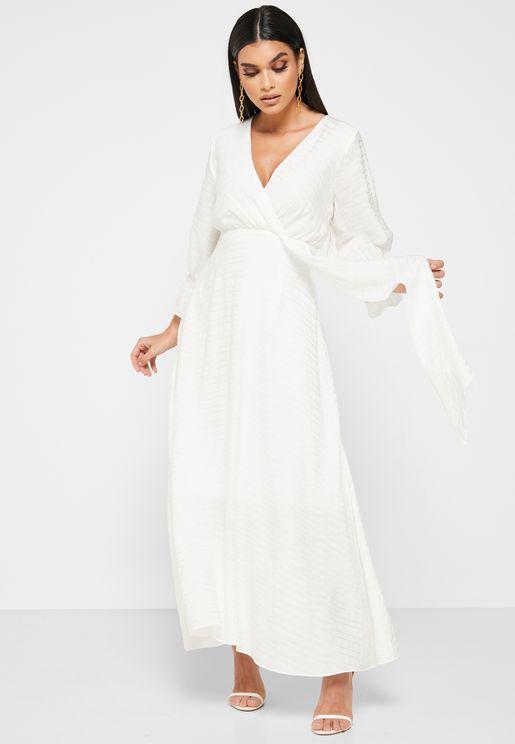 Wrap Front Textured Midi Dress