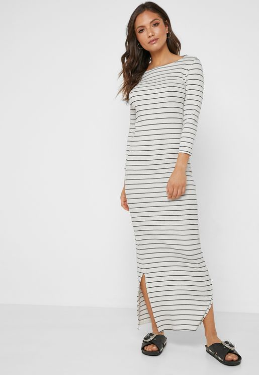 Slit Detail Striped Dress