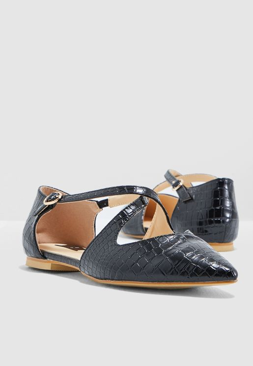 Pointed Toe Ballerina With Cross Front