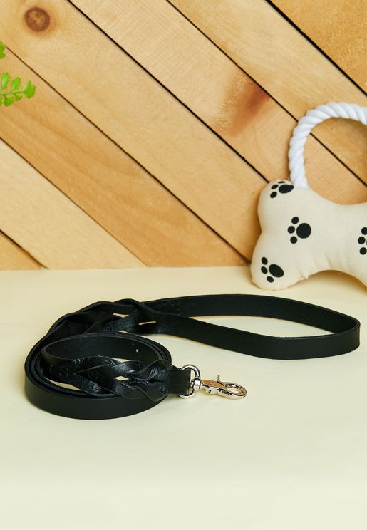 Black Braid Detail Leather Dog Leash