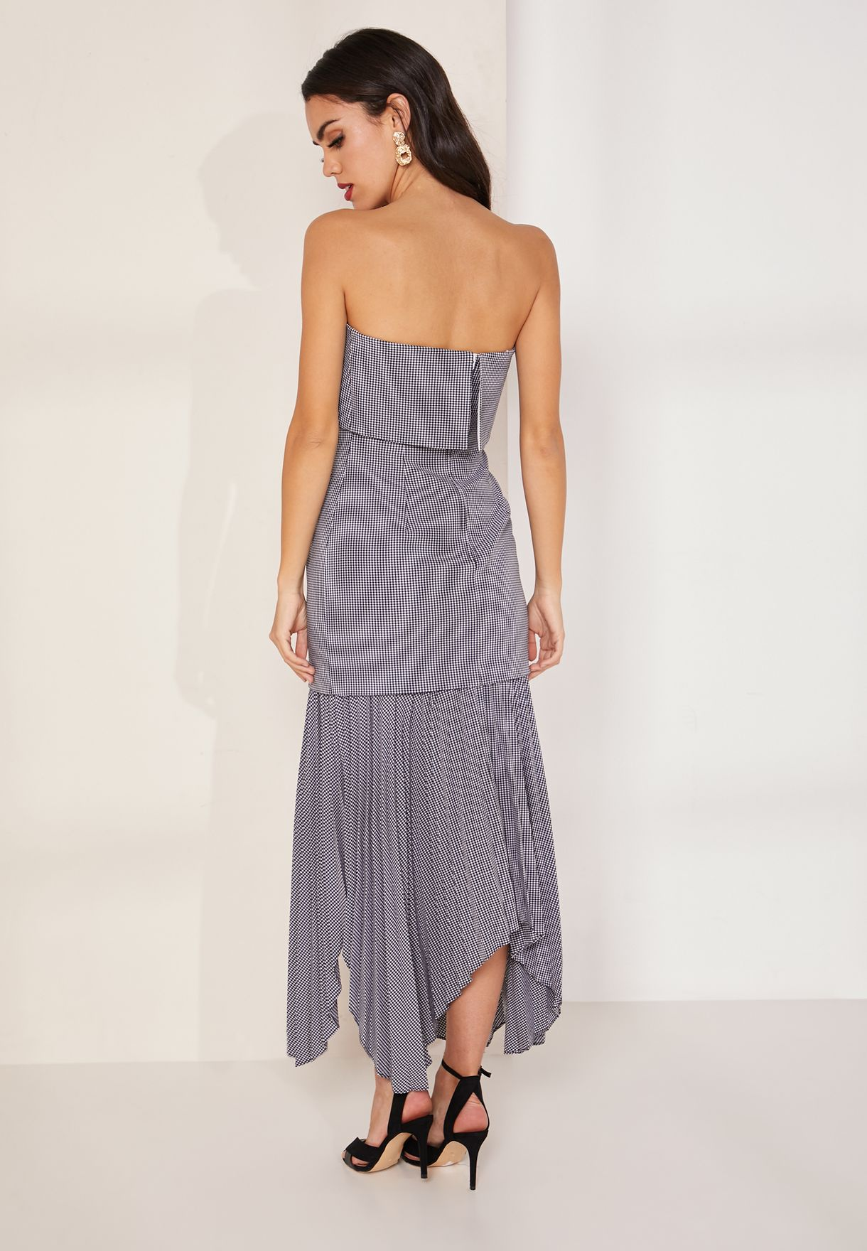 Ovation Bandeau Asymmetric Pleat Hem Dress