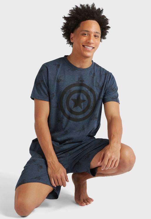 Captain America Print Pyjama Set