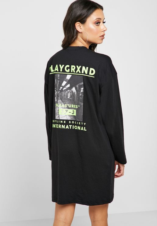 9cb2a38039 Graphic Oversized T-Shirt Dress