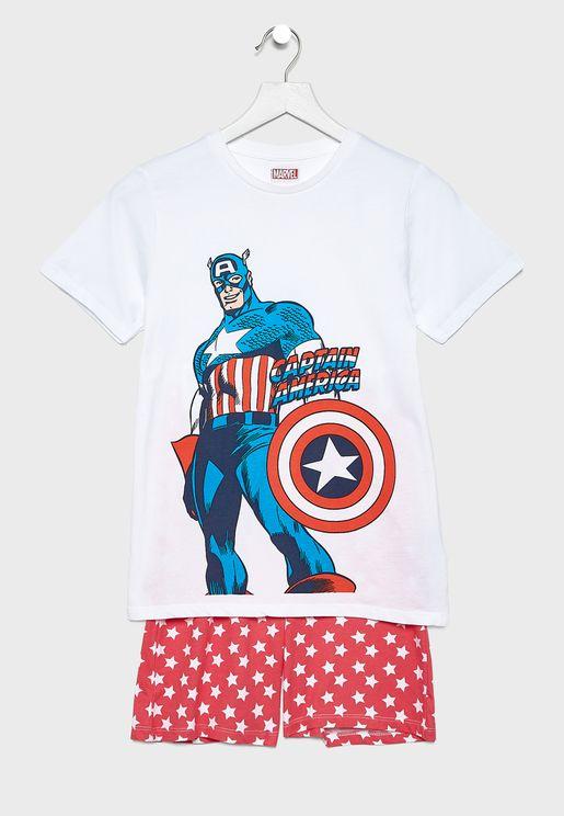 Kids Marvel T-Shirt + Printed Pyjama Set
