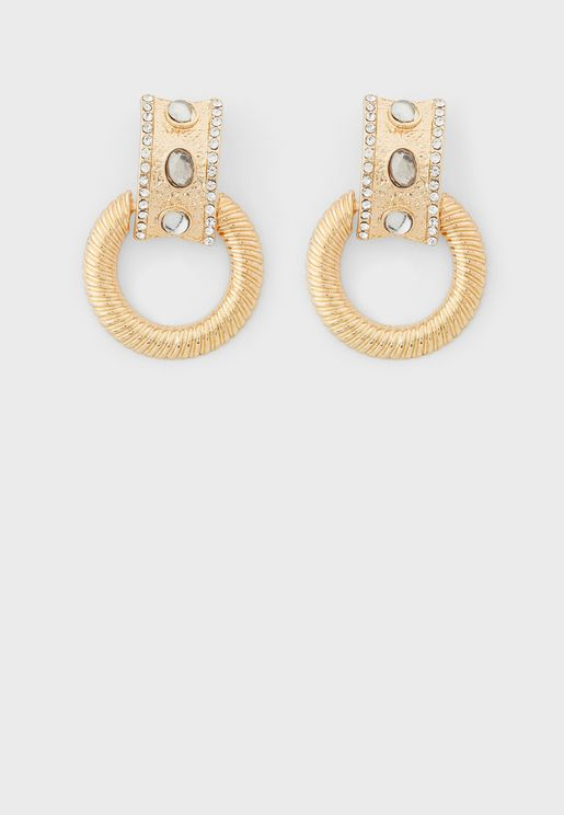 Jewelled Textured Double Circle Earrings
