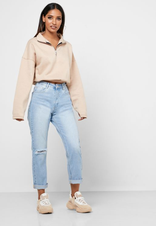High Waist Ripped Straight Jeans