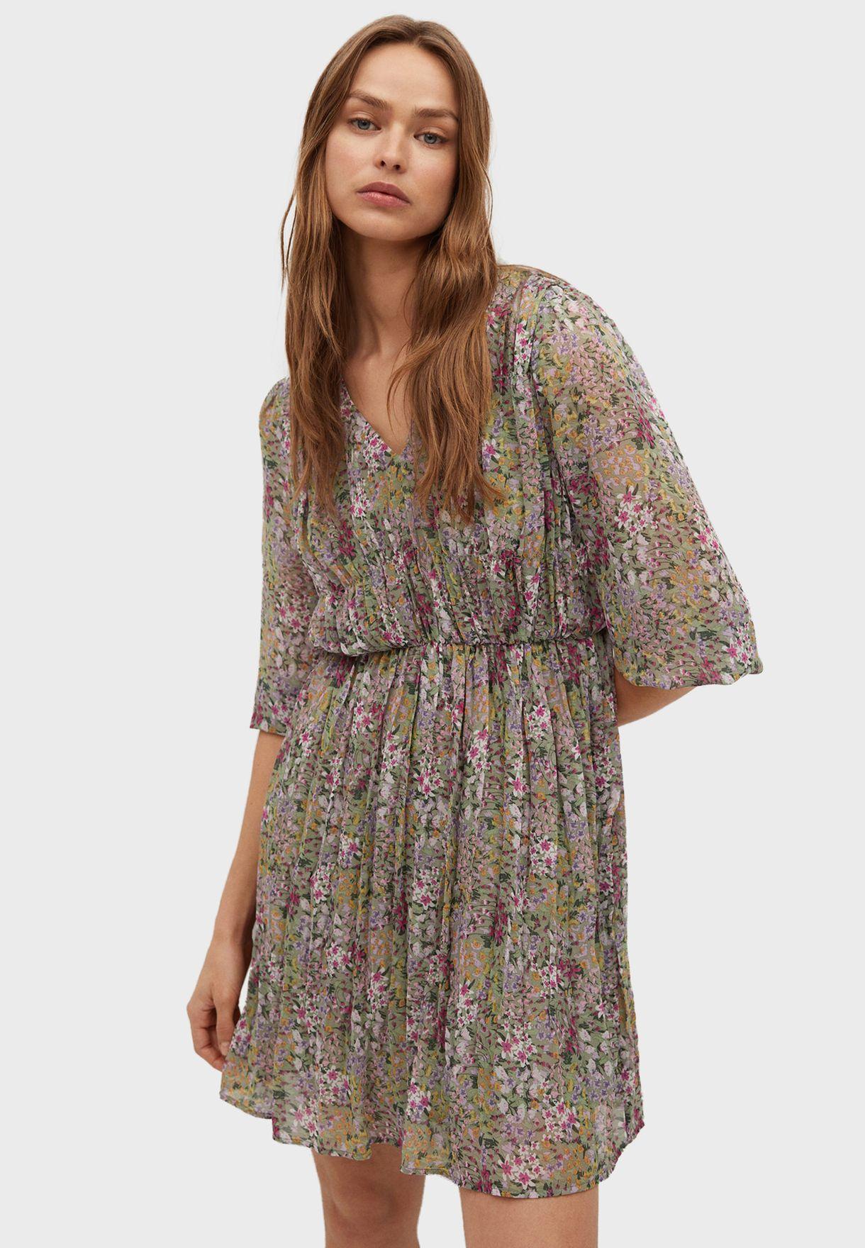 Floral Print Plisse Dress