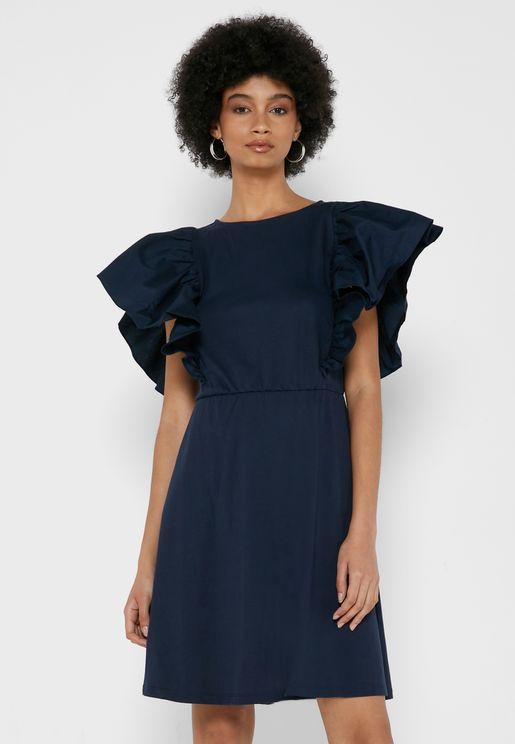 Flared Sleeve Mini Dress