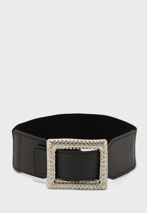Diamante Buckle Pu Waist Belt