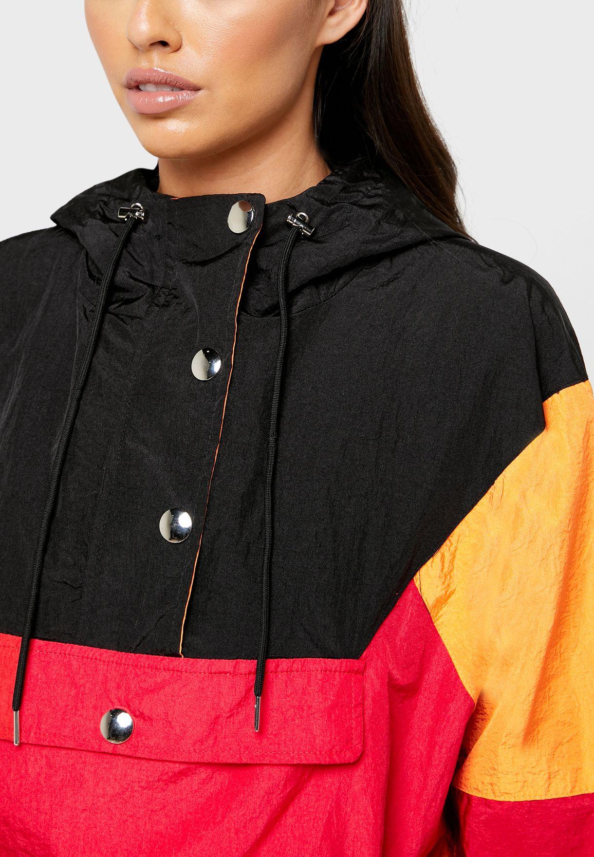 Drawstring Waist Colorblock Jacket
