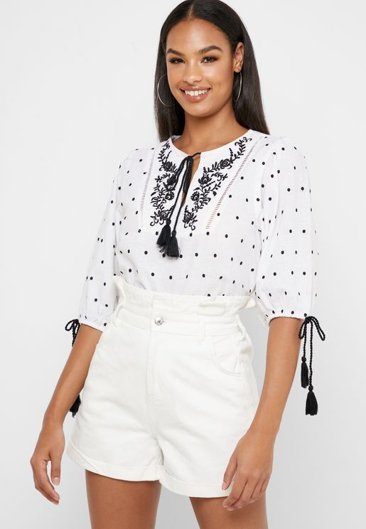 Embroidered Tie Sleeve Top