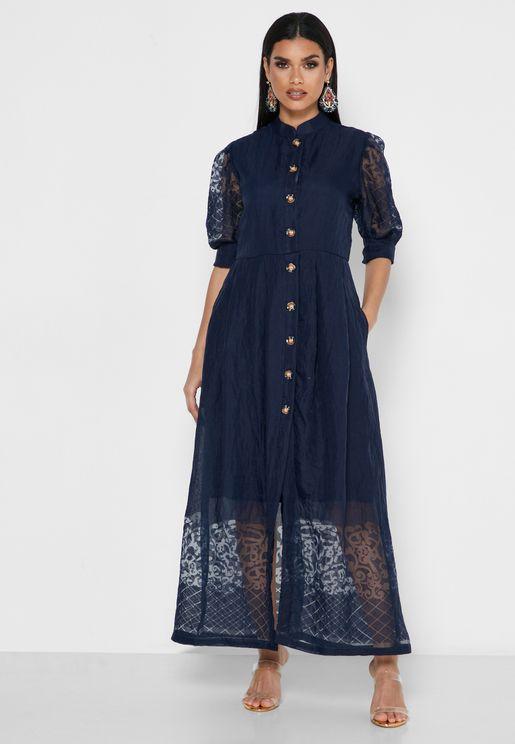 00c55ccfc Button Through Burnout Dress