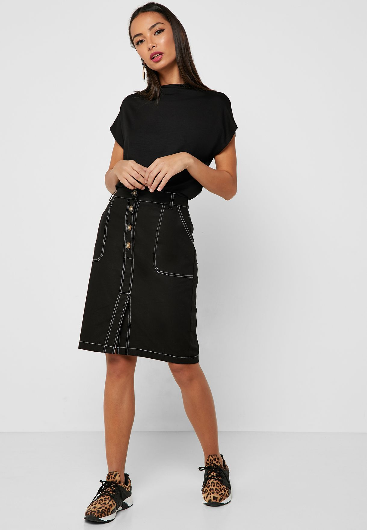 06f50e44722 Shop Ginger black Contrast Stitched Button Front Midi Skirt YG181234 ...