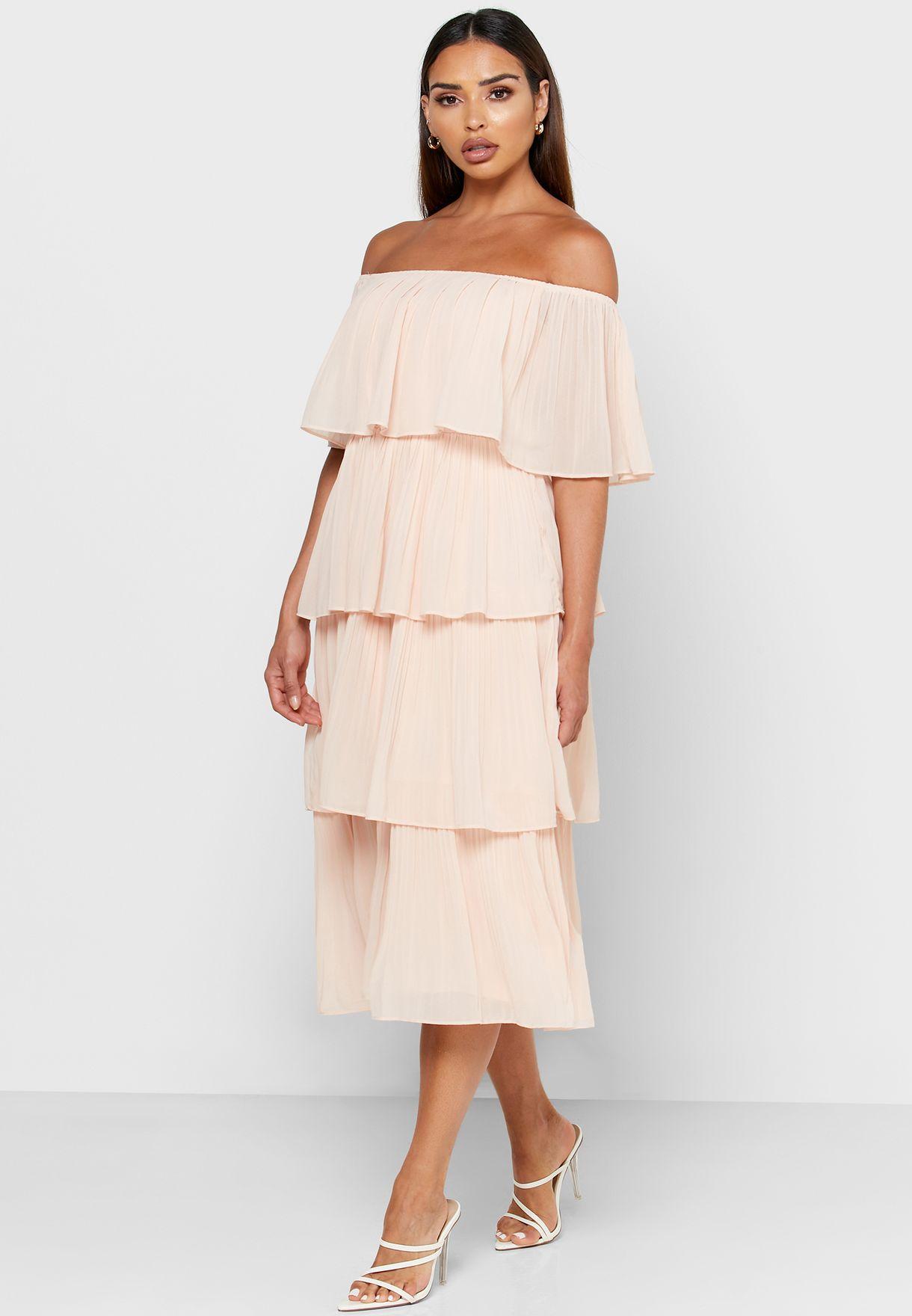 Bandeau Layered Pleated Dress